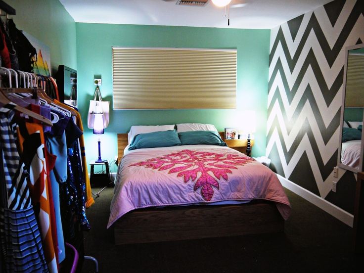 #DIY Chevron Painted Wall. Why not give your room a makeover?!
