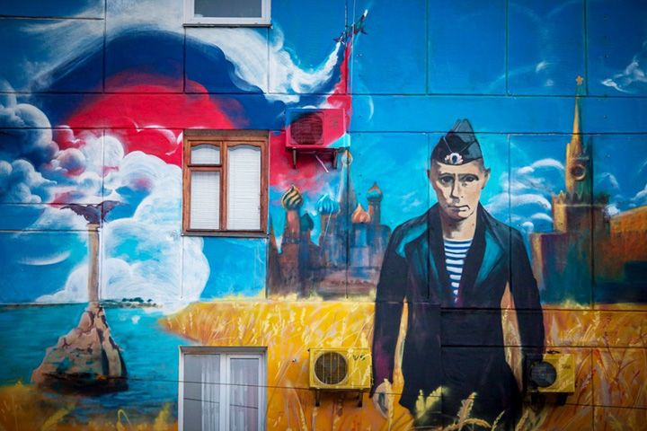Street Art with Vladimir Putin as a young sailor who conquered the Crimea