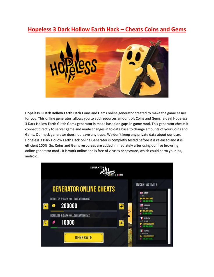 Hopeless 3 dark hollow earth hack - Get Unlimited Coins and Gems