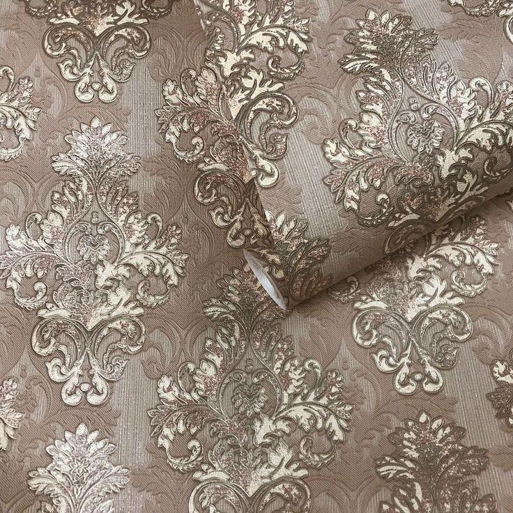 wallpaper vintage rolls paper damask covering brown