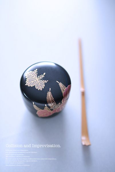 Japanese tea caddy and scoop