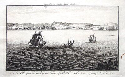A fine highly detailed good sized copper engraved antique print entitled PERSPECTIVE VIEW OF THE TOWN OF ST HILLARY ST HELIER IN JERSEY Engraved for