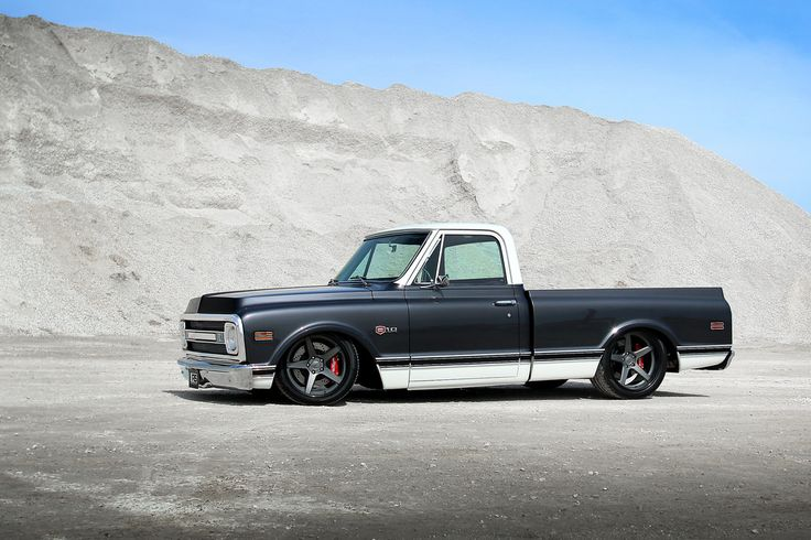 Would you haul gravel in this gorgeous pro-touring C10 truck? Roadster Shop's Craftsman C10 truck is powered by a 550HP LS3 and rides on a Roadster Shop FAST TRACK chassis, Penske double adjustable coilovers, Wilwood disc brakes, 285/35ZR19 & 305/35ZR20 Pirelli P-Zero tires, and 19x10/20x11 Forgeline CF3C wheels finished with Titanium centers & Gloss Black outers! See more at: http://www.forgeline.com/customer_gallery_view.php?cvk=959 #Chevy #C10 #protouring #RoadsterShop #Forgeline