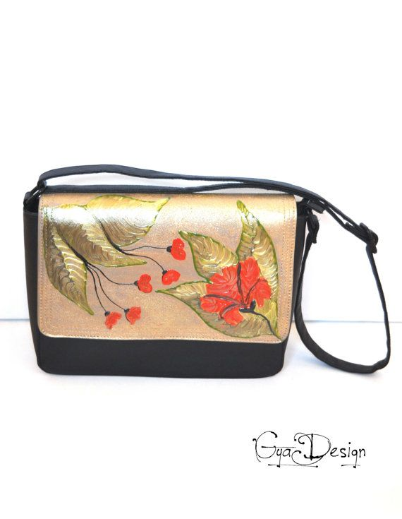 Black crossbody bag with red poppies purse hand by GyaDesign