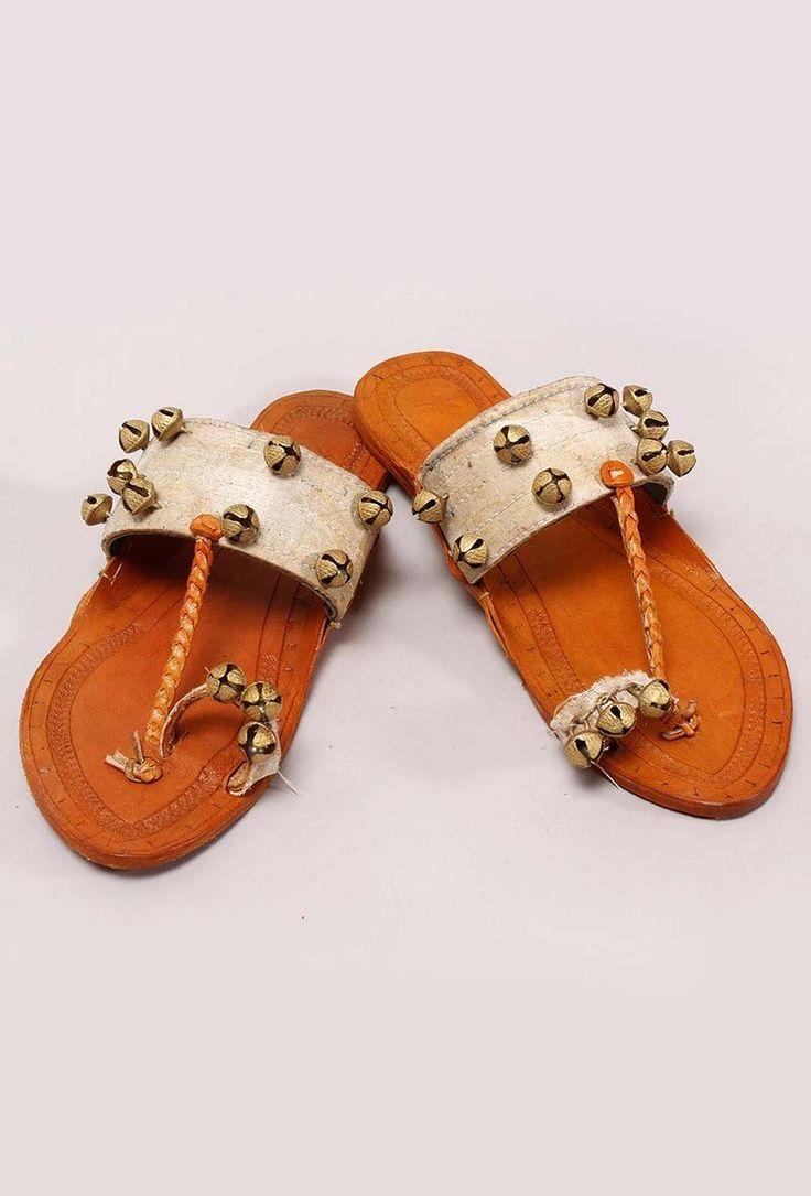 Beige ghungroo kolhapuri - Ghungroo Beats - Footwear | Tijori