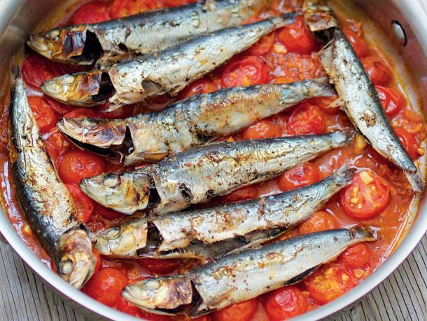 Sardines in Spicy Tomato Sauce Fresh sardines quickly broiled atop a fragrant sauce are a step above the canned variety and just as effortless to prepare.  Get the recipe »
