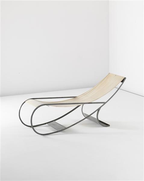 Chaise longue - Painted metal, canvas - ca. 1933   long chair . Liegestuhl . chaise longue   Design: Francois Turpin  