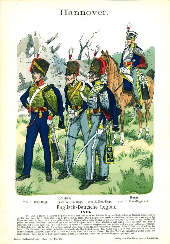 Officers, 1st, 2nd and 3rd Hussar Regiments, and hussar, 3rd Hussar Regiment, King's German Legion, 1813.