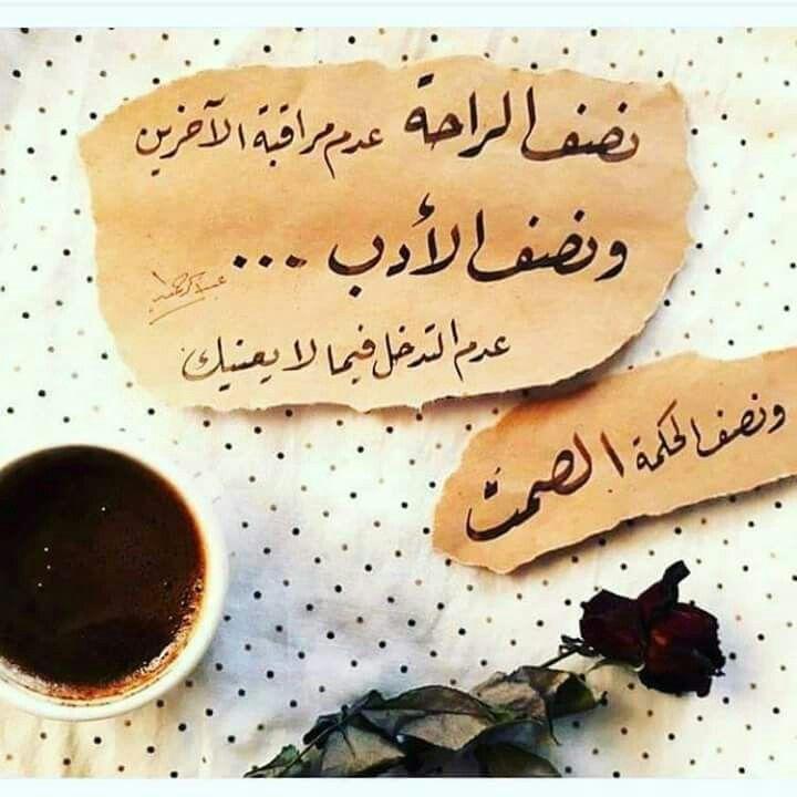 نصف الراحة عدم مراقبة الاخرين ونصف الادب عدم التدخل فيما لا يعنيك ونصف الحكمة الصمت Beautiful Quotes Beautiful Words Arabic Quotes