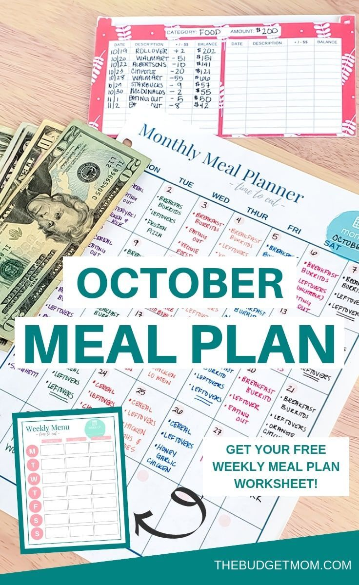 october budget monthly meal plan meal planning budgeting meal