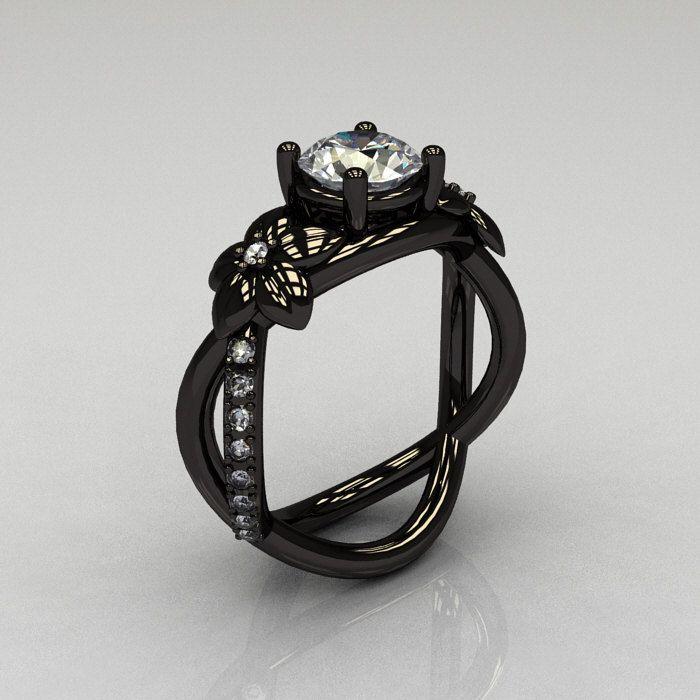 Designer Classic 14K Black Gold 1.0 CT White Sapphire Diamond  Leaf and Vine Wedding Ring, Engagement Ring R180-14KBGDWS. $1,799.00, via Etsy.