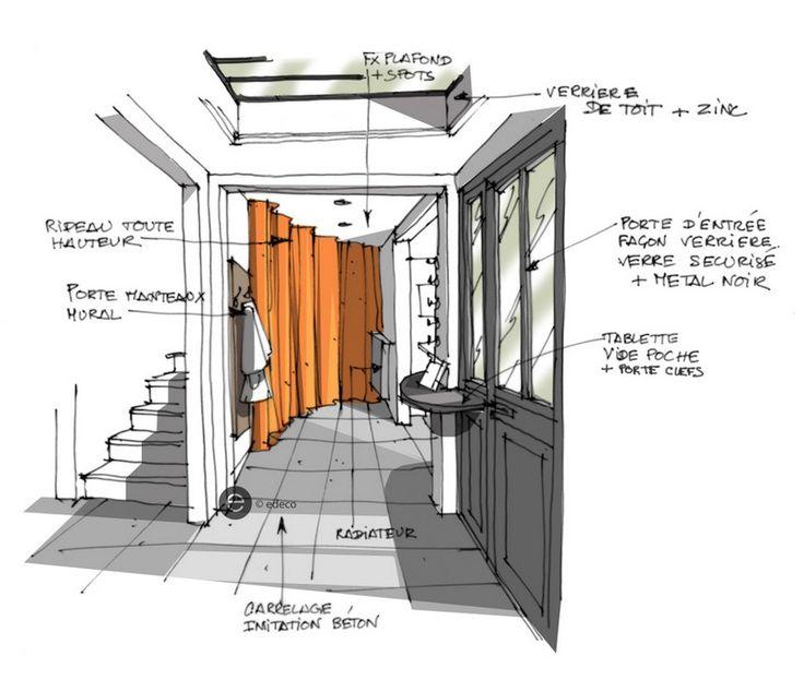 croquis architecture intérieure - entrée loft, rideau orange. - Dominique JEAN