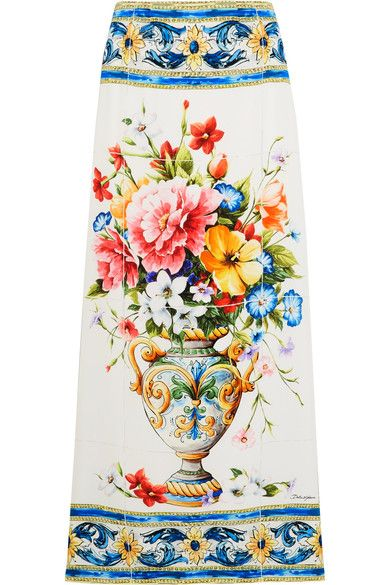 Dolce & Gabbana - Floral-print Stretch-silk Midi Skirt - Blue