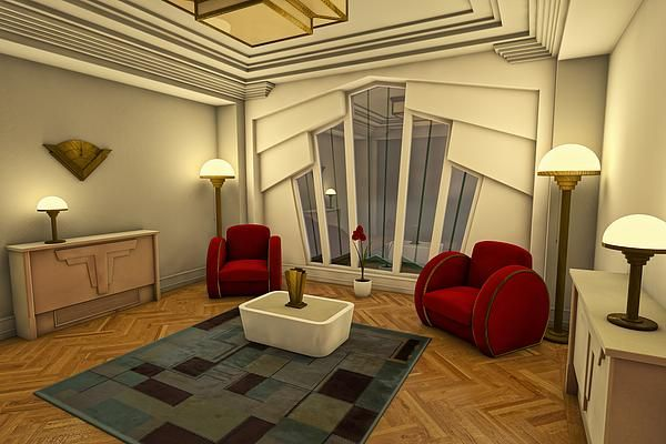 Classic Art Deco Living Room - Digital Art For The Home. Home decor, interior design. Sunburst style window. Art deco style furniture. Chairs. Art for the wall. Lamps and lighting.