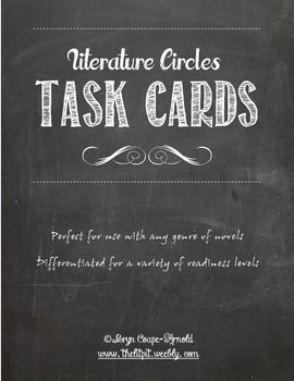 Literature Circles Task Cards - for use with any genre! Not just the same old role cards...actually requires thoughtful responses!