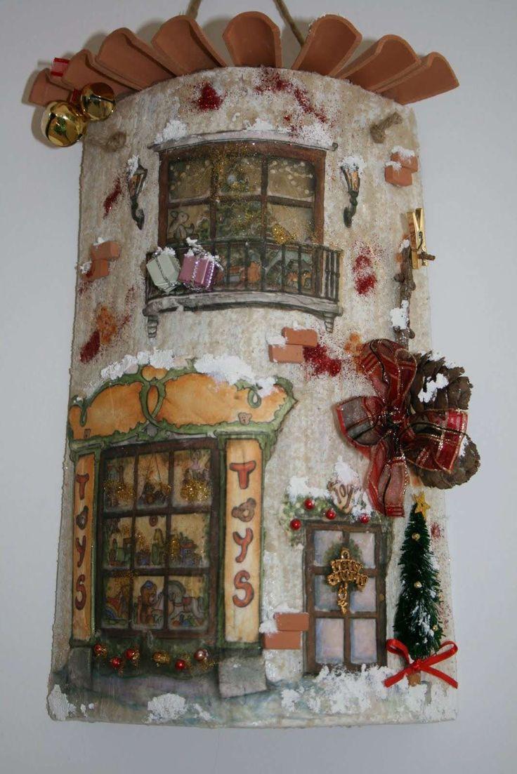 Risultati immagini per tegole decoupage natal
