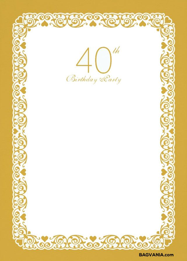 Cool Free Printable 40th Birthday Invitations