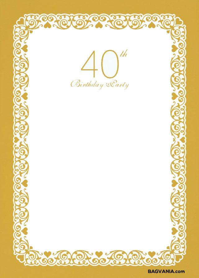 cool free printable 40th birthday invitations bagvania invitation