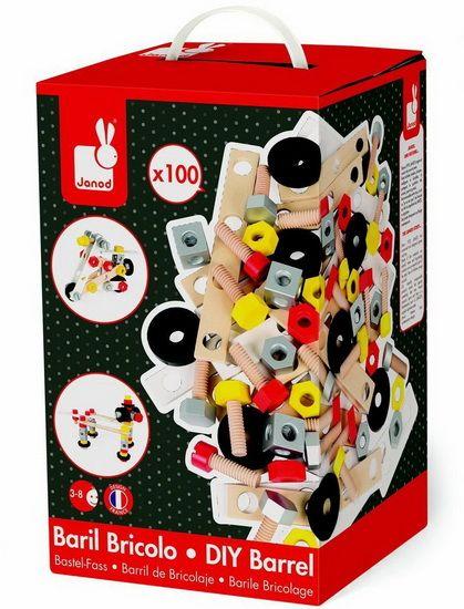 Avec ce baril bricolo de 100 pièces en bois, votre petit bricoleur pourra s'initier au bricolage et construire des engins au gré de son imagination. Il va pouvoir visser, dévisser et assembler pour tout créer ! Ce baril est composé de : 24 écrous, 24 vis, 14 rondelles, 30 plaquettes, 6 cubes, 1 tournevis et 1 clé. Baril Bricolo Redmaster 100 pièces, un jouet en bois de la marque Janod. Réf. 06486.