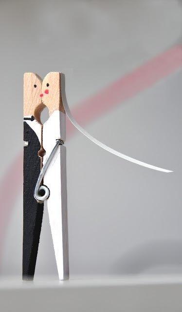 artesanías de recién casados pinza de ropa bricolaje idea reutilizados para el regalo de boda