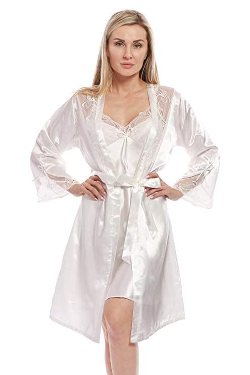 bacfc57ba43 BellisMira Women s Satin Robe Silk Dressing Gown Lace Pyjamas Long  Nightdress Sexy Ladies Bathrobe Sleep Slip Kimono (Robe Only)  Amazon.co.uk   Clothing