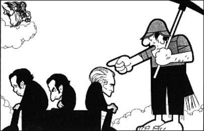 "João Abel Manta, ""Acabem com isso antes que eu me zangue"" (""Acaben con eso antes de que me enfade""). Mário Soares con Francisco Sá Carneiro de espaldas a Álvaro Cunhal."