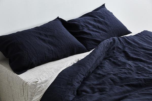 100% Linen Duvet Cover in Navy