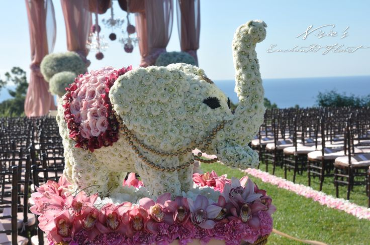 Nisie's Enchanted Florist, Pelican Hill, flowers, pink flowers, white flowers, elephants, floral arrangements, Pelican Hill, outdoor wedding, wedding ceremony