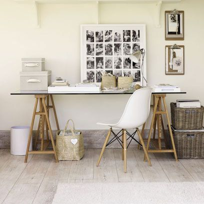 The White Company Home Office: Lime Washed Flooring: Decorating Ideas: Interiors- Cool baseboard trim