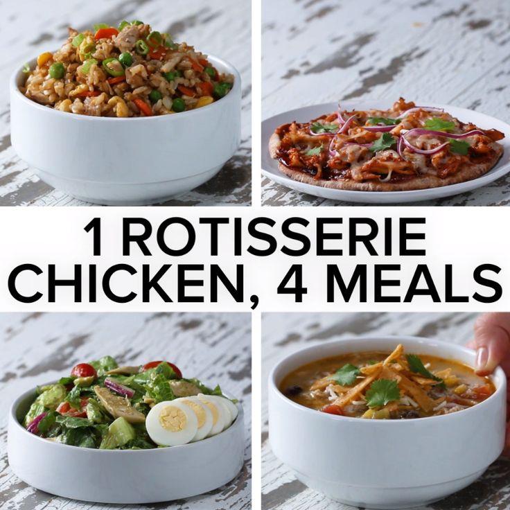 1 Rotisserie Chicken, 4 Meals // #chicken #dinner #quickdinner #salad #soup #goodful