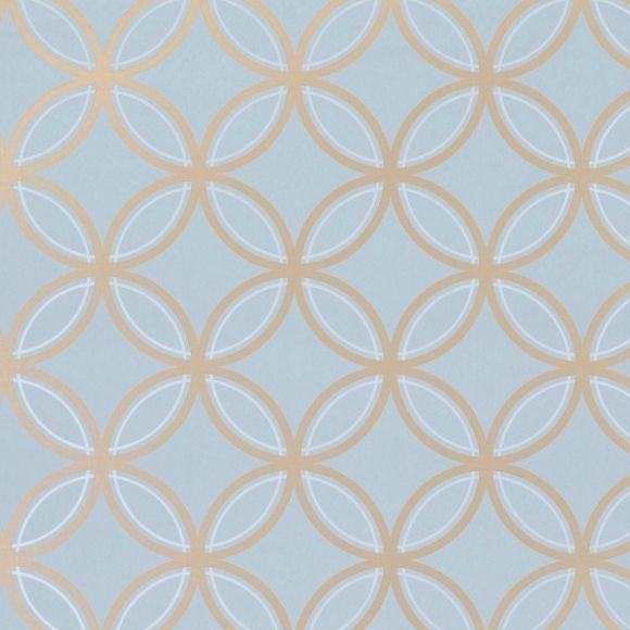 Papier peint géométrique bleu Kirkos - Thibaut - Au fil des Couleurs