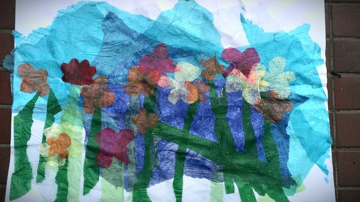 Collage using tissue paper, glue and imagination