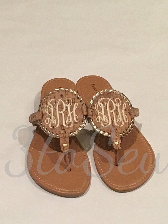 62540dac2 Monogrammed Disc Natural Sandals Cork Sandals Thong Sandals Personalized  Sandals   RESTOCKED