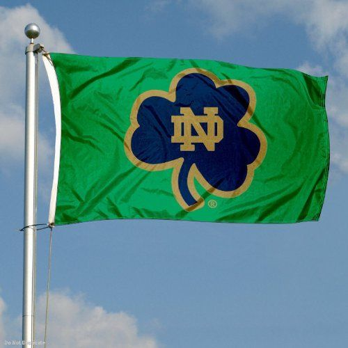 Notre Dame Shamrock Banner Flag by College Flags and Banners Co.. $29.95. This Notre Dame Shamrock Banner Flag measures 3x5 feet in size, has quadruple-stitched fly ends, is made of durable 100% Nylon, and has two metal grommets for attaching to your flagpole. The screen printed Fighting Irish logos are Officially Licensed and Approved by University of Notre Dame and are viewable from both sides with the opposite side being a reverse image.. Save 25%!