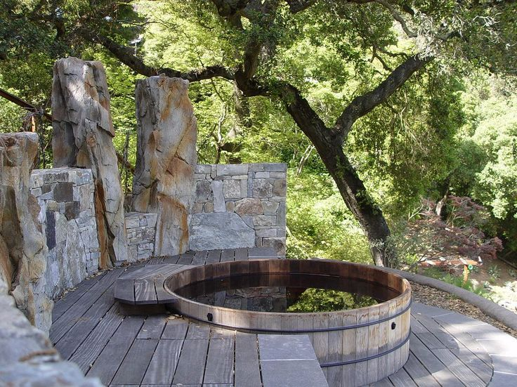 Built In Hot Tubs Designs Deck Rustic With Oak Trees Hot Tubs Oak Trees