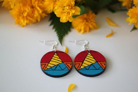 Aztec pattern hand-painted wooden earrings. by DeaJewelryStore