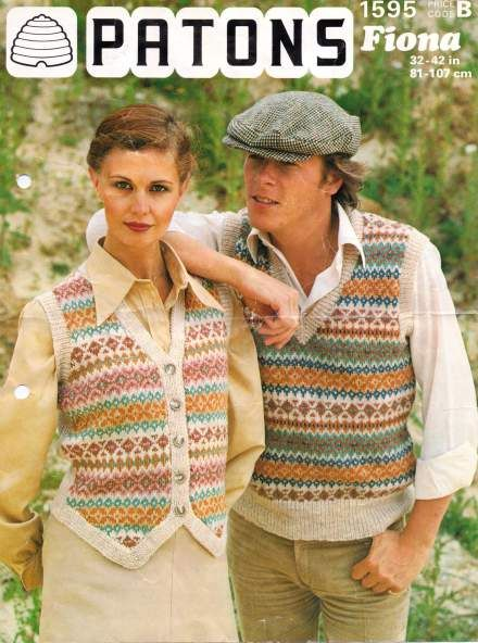 Fair isle pull over and waistcoat multisize pattern for men or women. Free Vintage Knitting Pattern