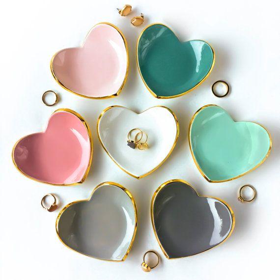 Gold Rim Heart Ring Dish – Ring Holder, Bridesmaid Gift, Wedding Favor, Sweet 16, Mother's Day, Ceramic Ring Dish