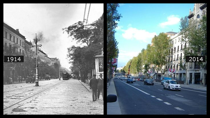 En la imagen de José Zegrí de la calle Serrano, tomada el 30 de junio de 1914, puede verse la columna del tranvía fundida por un rayo, en comparación con su aspecto actual (derecha).