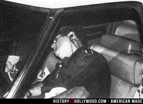 Barry Seal dead in his car after his assassination by Pablo Escobar and Ochoa hitmen. Read 'American Made: History vs. Hollywood' http://www.historyvshollywood.com/reelfaces/american-made/