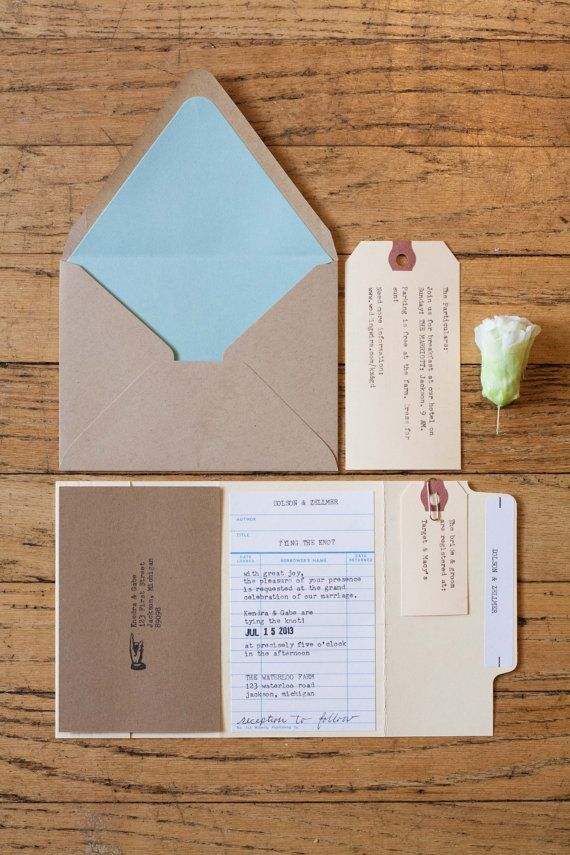 i know this is for a wedding, but could use similar idea for baby! Library Card Wedding Invitation Sample by kendradolson on Etsy, $7.00