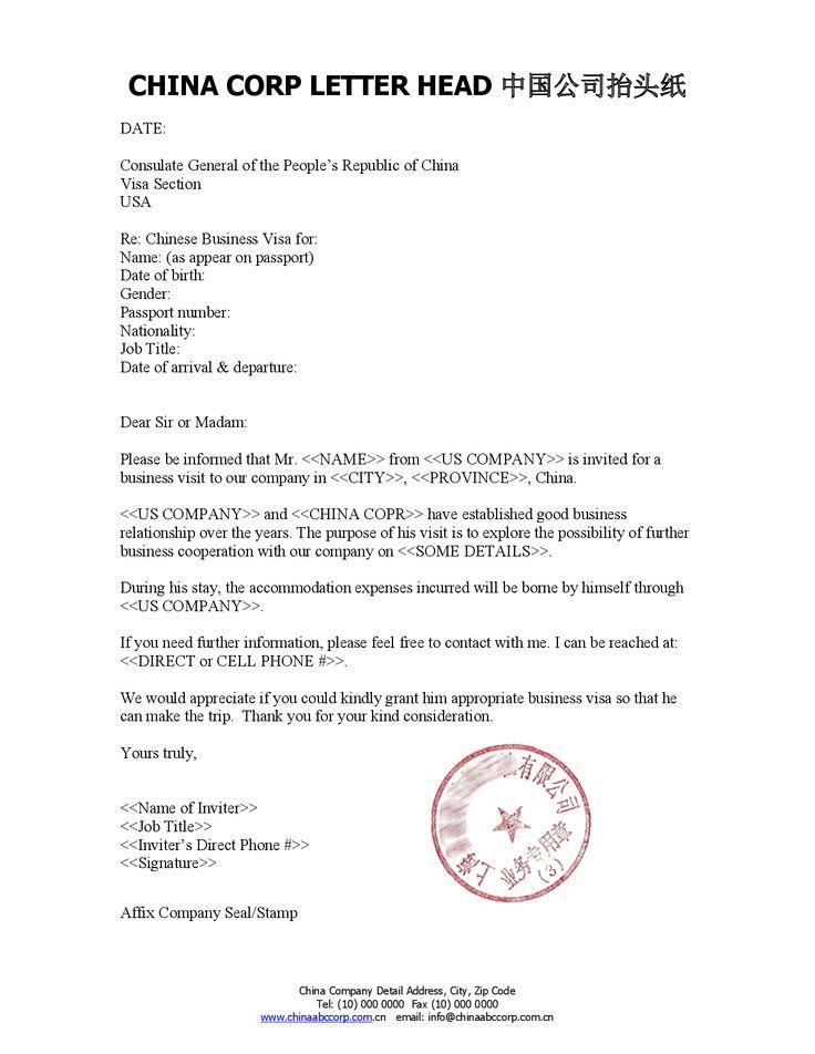 Invitation Letter Format Business Visa India Sample
