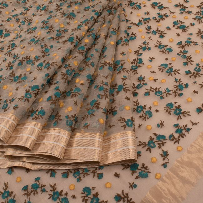 Buy online Embroidered Blue Organza Fancy Saree With Floral Motifs & Zari Border 10013258