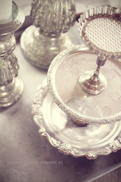Repurposed Trays, Plates and Candlesticks - pictures show how mismatched glassware is painted and attached to create usable serving and display pieces - {Lifestyle} DIY - One-way Etagere |
