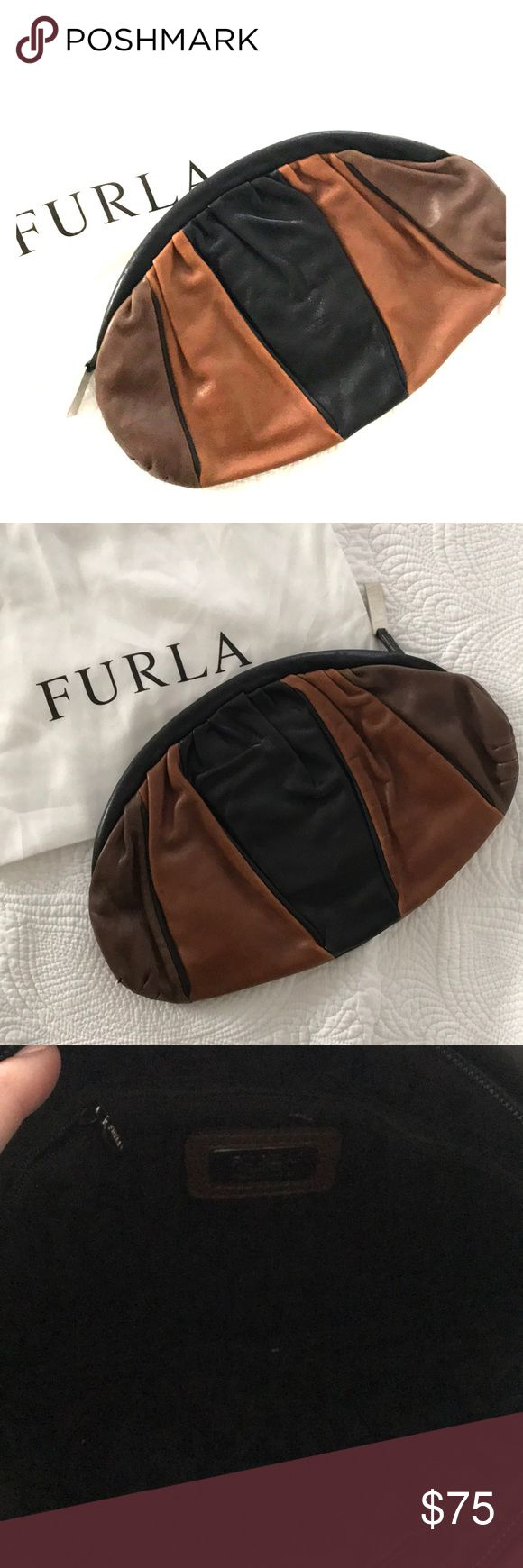 Furla clutch Like new! Used once. Perfect condition with cloth bag Furla Bags Clutches & Wristlets
