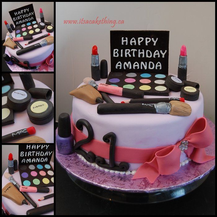 Make Up Inspired Birthday Cake - by itsacakething @ CakesDecor.com - cake decorating website