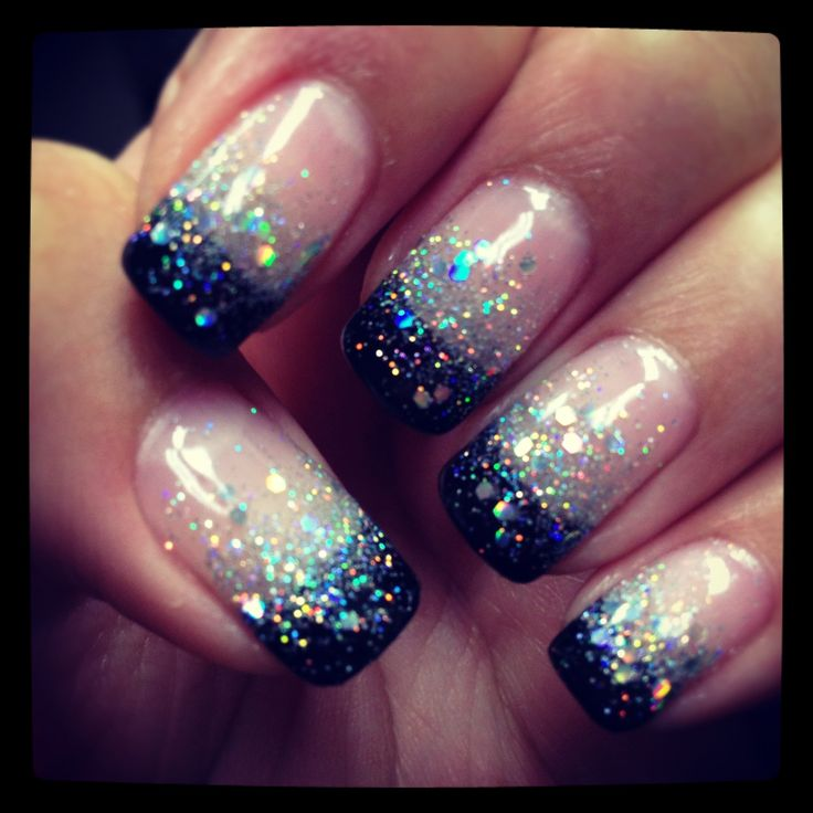 Shellac nails by Natalie black glitter