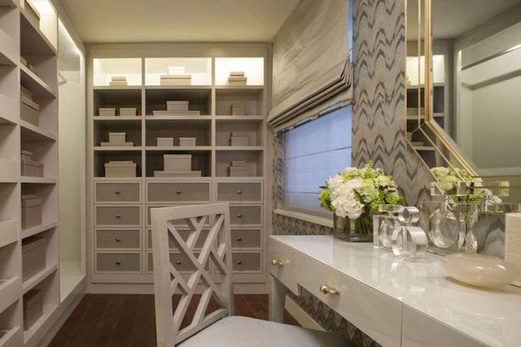 Intarya - neutral dressing room, floor to ceiling cabinets, drawer fronts