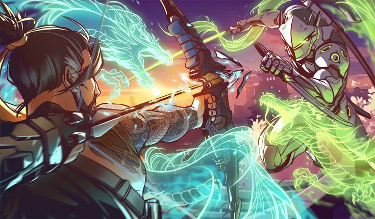 Hanzo e Genji   Overwatch (Papel de Parede)