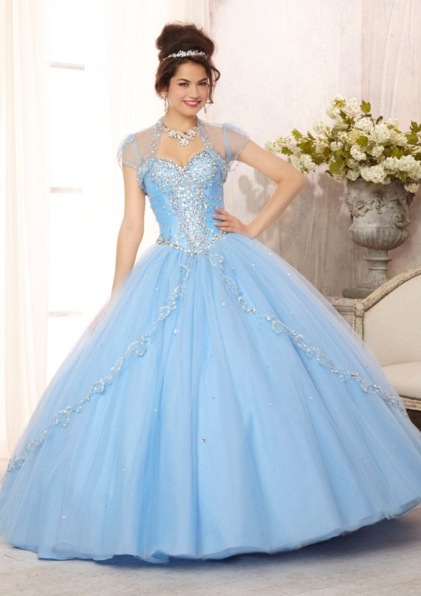 88088 Quinceanera Gowns 88088 Embroidered and Beaded Bodice on a Tulle Ball Gown Skirt with Sweep Train
